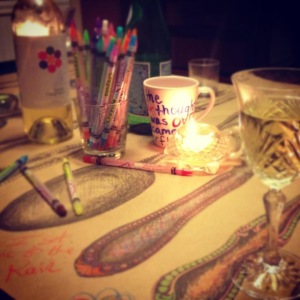 Tablescape at the end of a long, shared meal with my dear friend Marianne. Almost every shared meal at my house has colored pencils (and a colorable table covering) at the center.