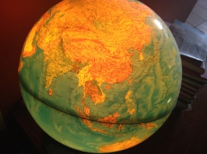 I used this antique light up globe to show my kids my pilgrimage journey's route.